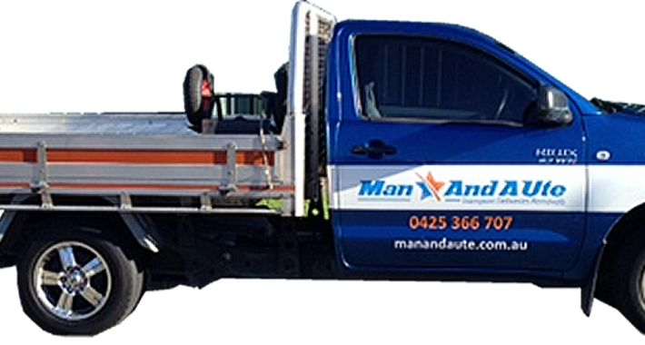 Man and A Ute Logo