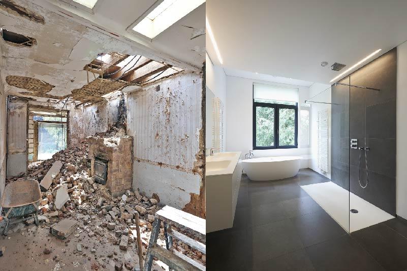 broken down bathroom and new bathroom