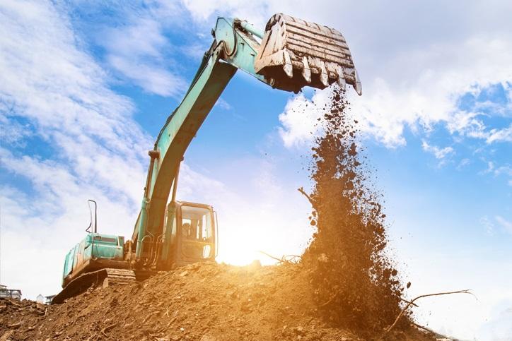 crane lifting soil excavation move