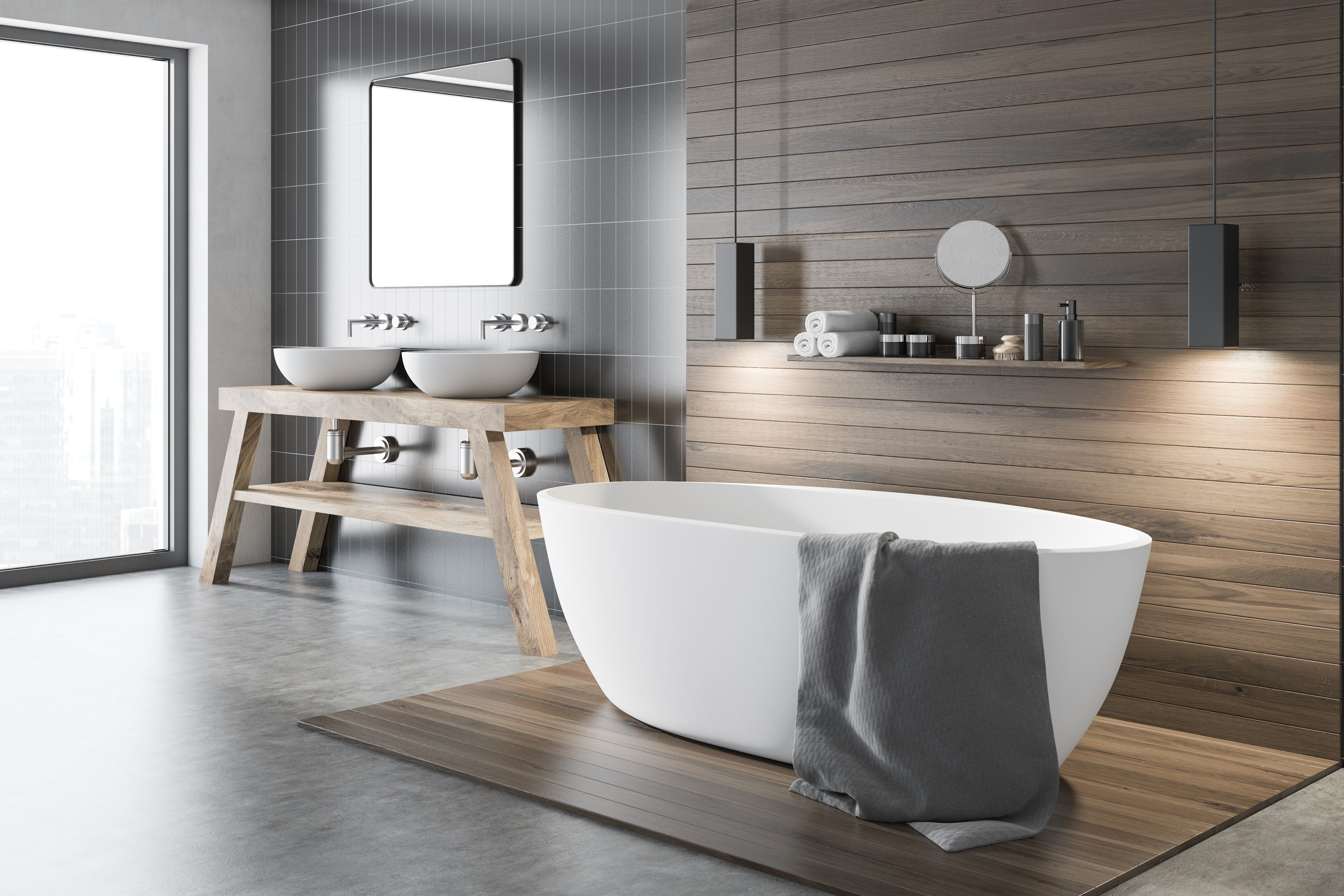 stand alone tub in a luxury bathroom