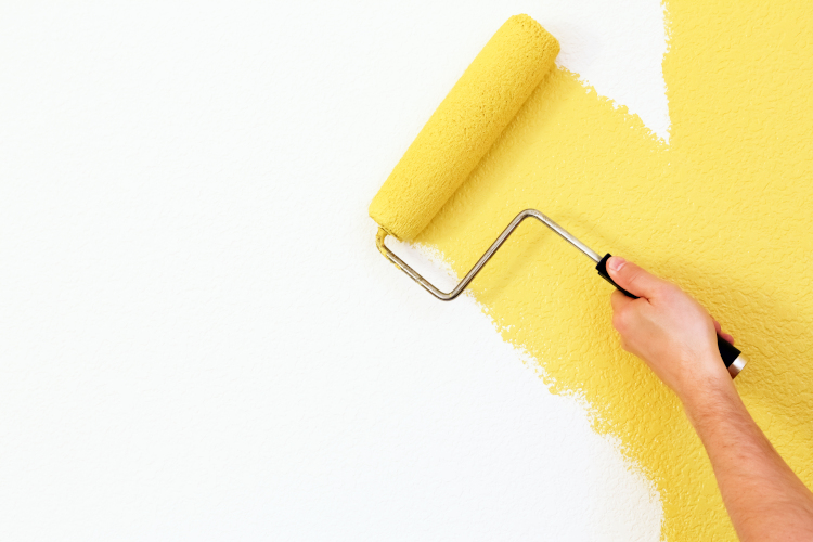yellow paint with roller