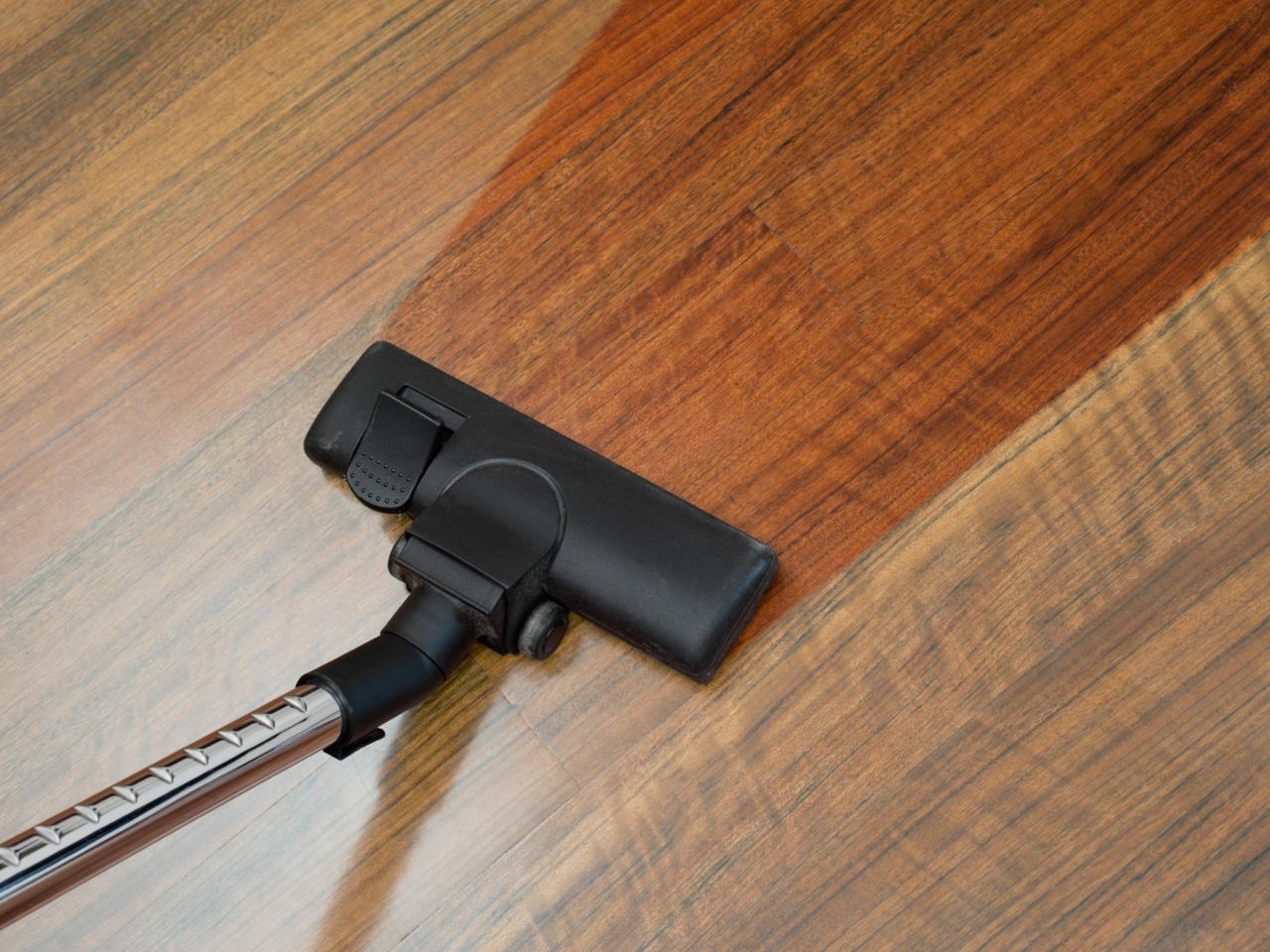 vacuuming wooden flooring