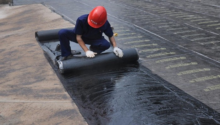 Waterproofing the roof with red helmet