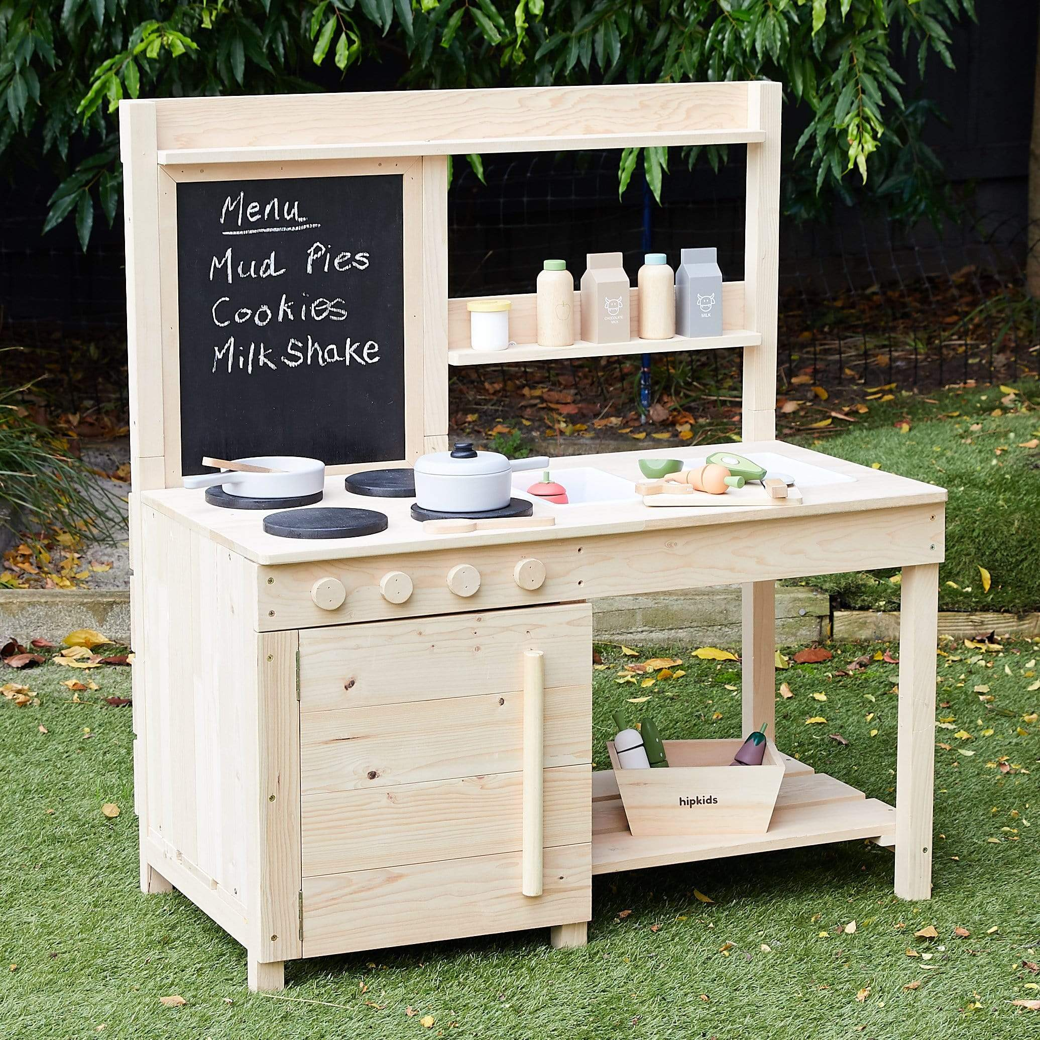 outdoor kitchen for kids in the backyard