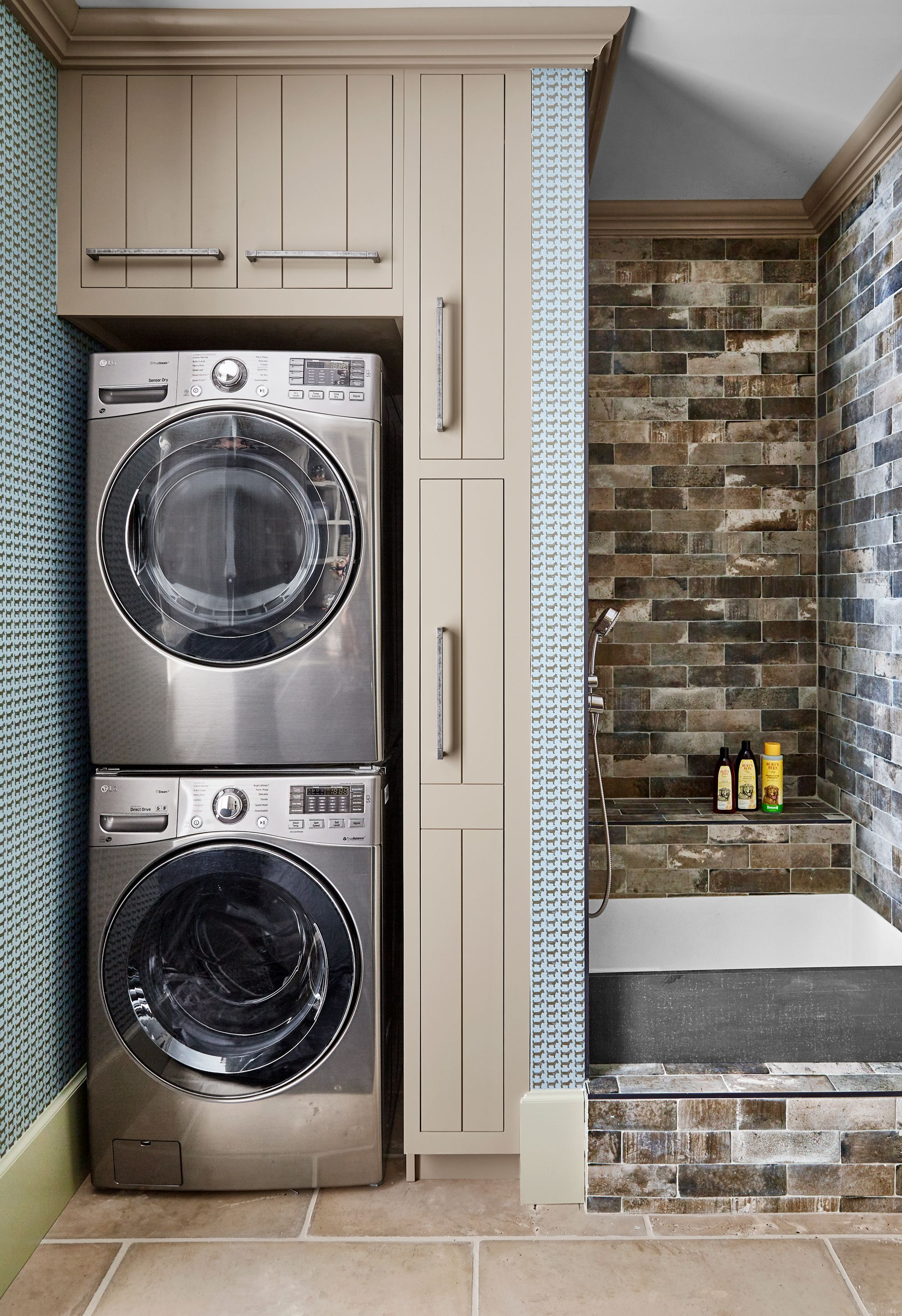 Compact laundry room with washer and dryer