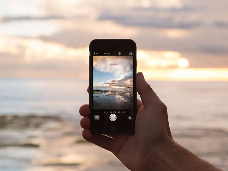 Taking a picture of the beach with iphone