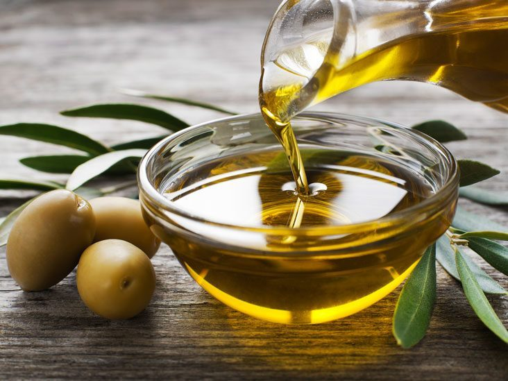 Olive oil in a bowl