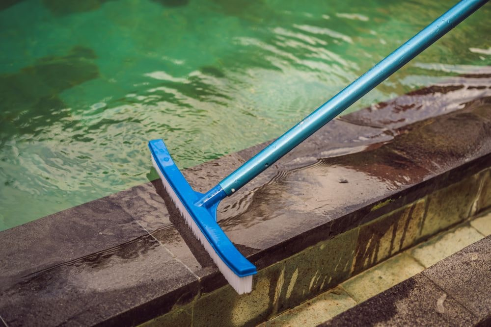 Pool brush cleaning dirty pool