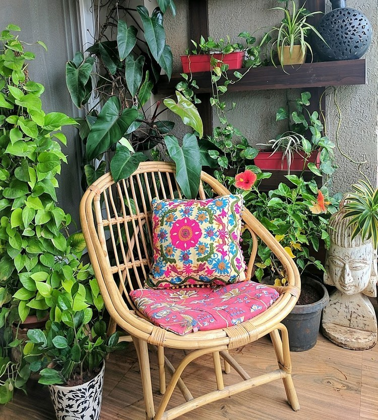 Cane furniture on the balcony