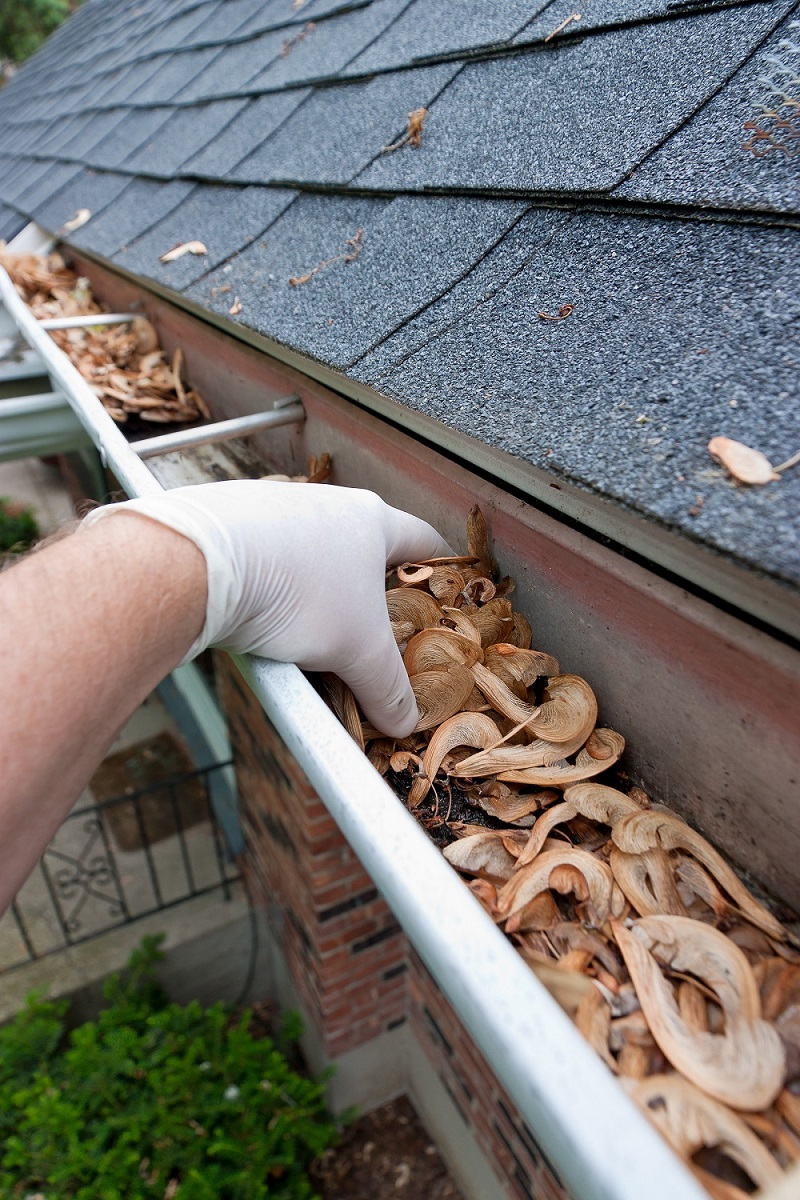 Gutter cleaning with white gloves