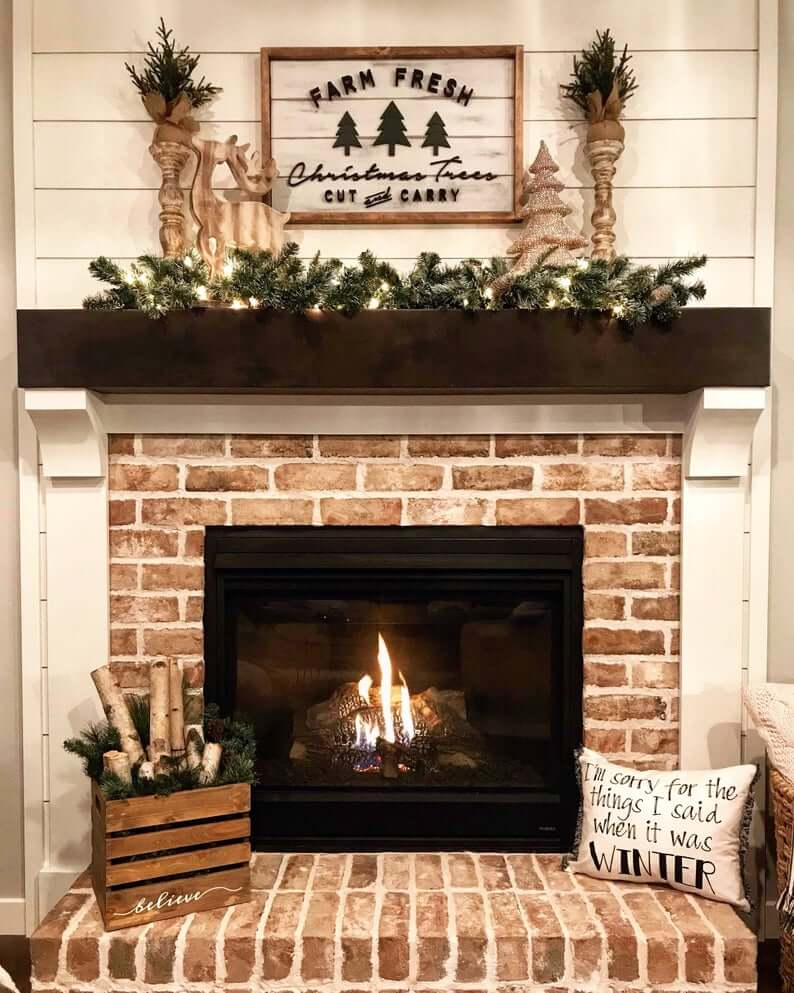 brick fireplace in living room