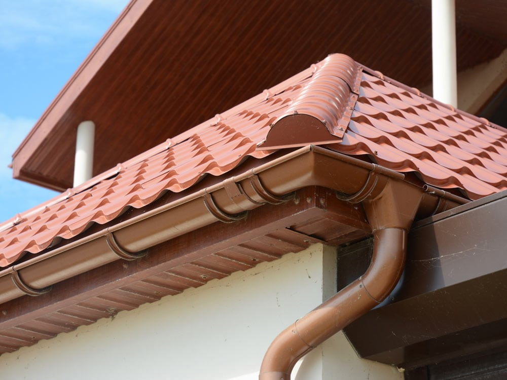 Guttering on red roof