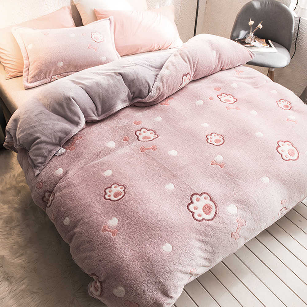 Bed with pink bedsheets