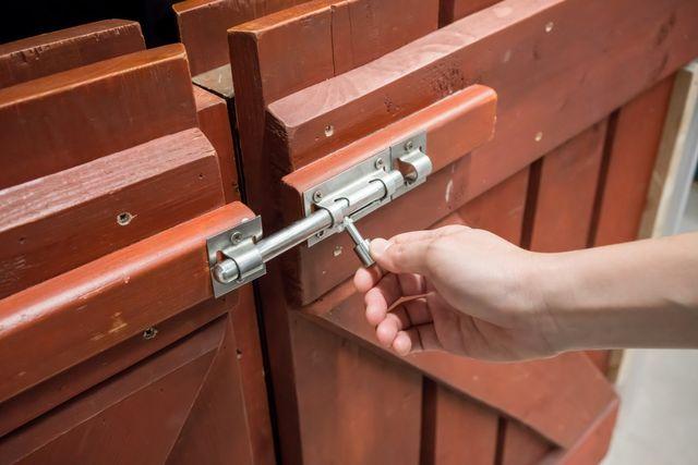 Brown door with latch