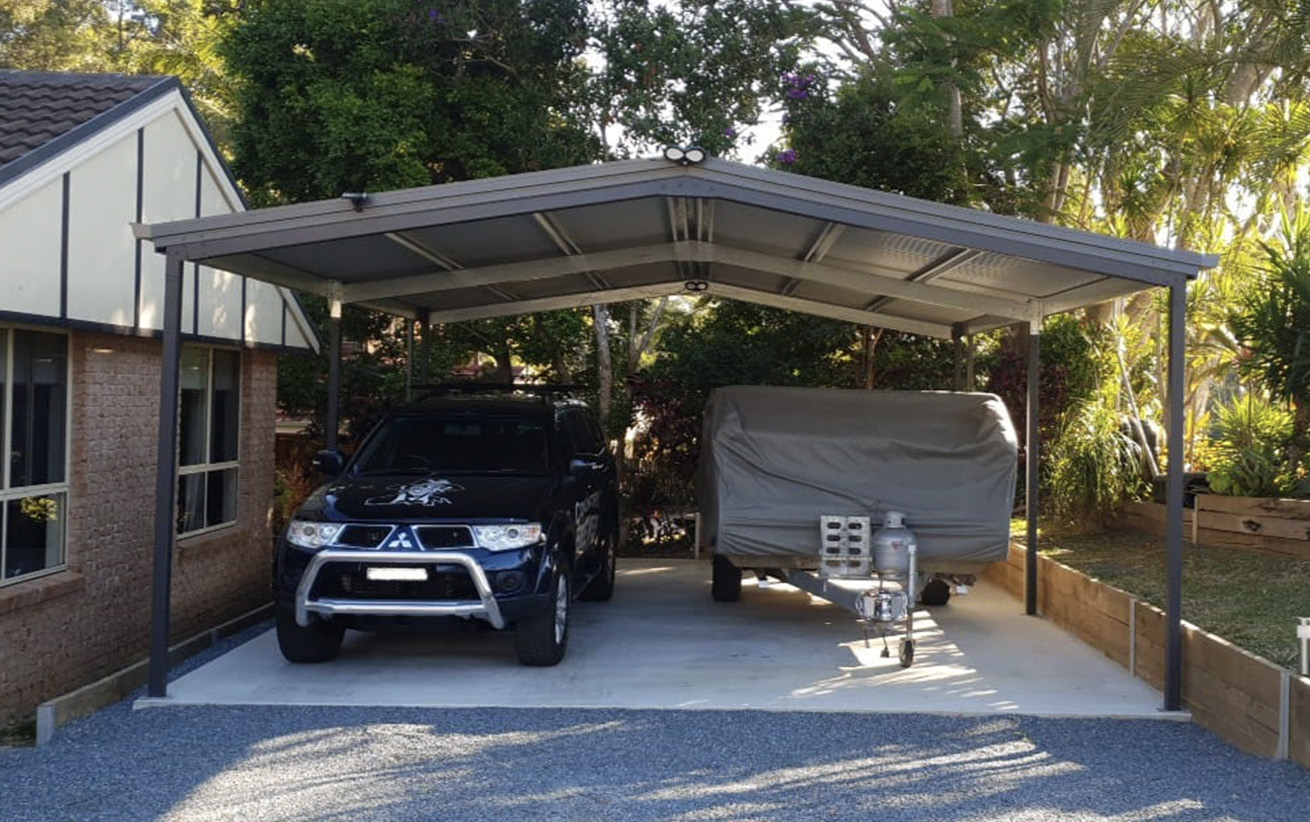 Carport with boat