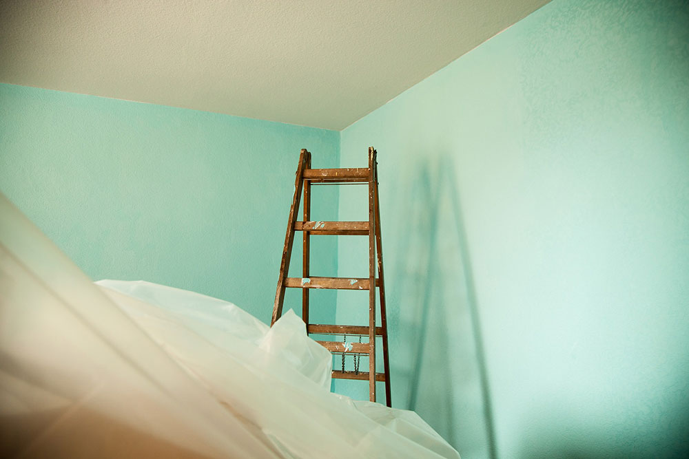 Painting drying and a ladder