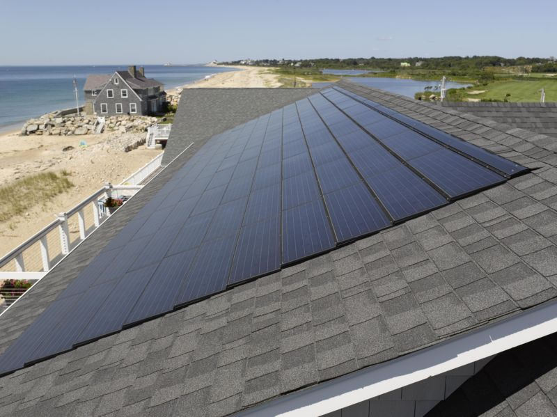 Solar roof on the beach