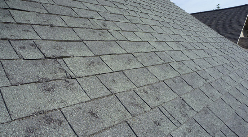 Shingle damage by hail